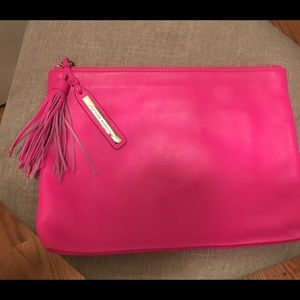 Hot pink Loeffler Randall leather clutch